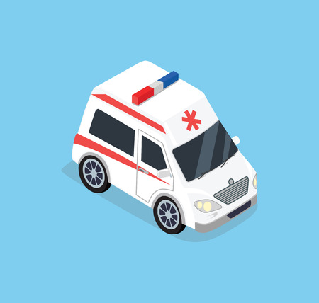 Isometric ambulance car. 3D isometric top view ambulance car transport. Ambulance emergency medical evacuation 3D car. Flat 3d isometric high quality city service ambulance car. Ambulance car isolated
