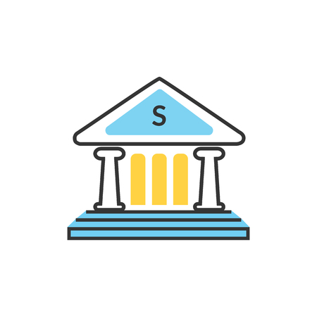 bank interior: Bank office symbol with ATM dollars and safe icon. Banking concept in flat design. Bank building, finance house, money home, bank icon,  banker, bank interior, business house Illustration