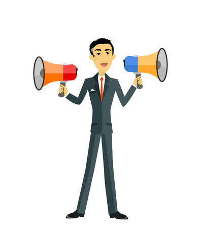 boss cartoon: Boss with megaphone. Man with two megaphone. Businessman boss hold megaphone loudspeaker. Boss angry with megaphone. Boss yells into a megaphone. Leadership announcement. Vector illustration Illustration