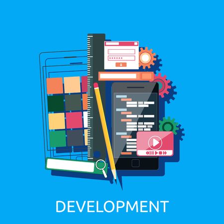 web development: Web development concept. Web design development interface elements creative process tools. Web design, development, web designer, website, web development icons isolated. Vector web development icons Illustration