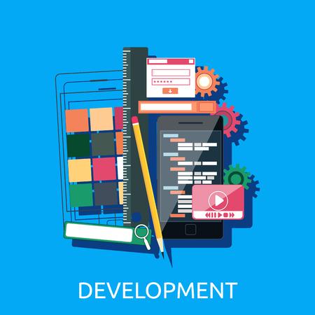 Web development concept. Web development ontwerp interface-elementen creatieve proces gereedschappen. Web design, ontwikkeling, webdesigner, website, web development iconen. Vector web development icons Stock Illustratie