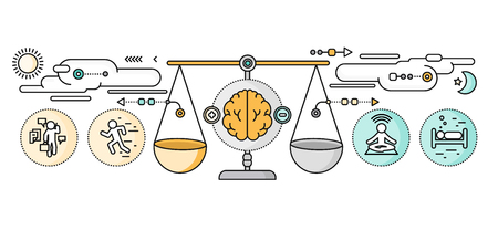 emociones: El diagnóstico de la psicología diseño plano cerebro. Vectores