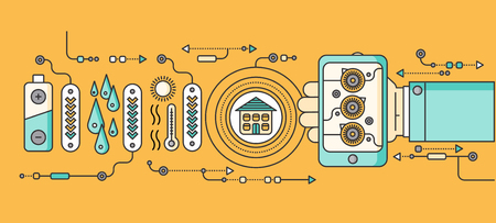 electricidad: Concepto de dispositivos del hogar y de control inteligente. dispositivo de tecnolog�a, sistema m�vil de vigilancia de automatizaci�n de la eficiencia el�ctrica de alimentaci�n de energ�a, temperatura del equipo, termostato remoto. ilustraci�n Smart House Vectores