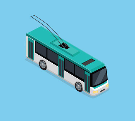 conveyances: Flat 3d isometric high quality electric trolleybus. Isometric city transport icon. Vector trolleybus. Isometric trolleybus icon. Isolated trolleybus. Low floor articulated city trolleybus