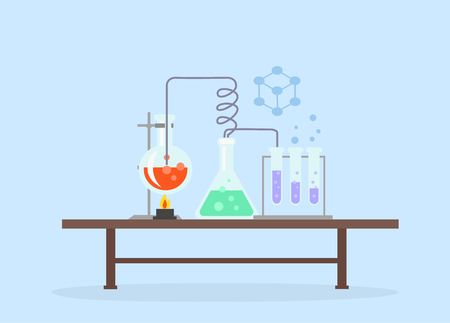science: Biology laboratory work space and science equipment concept. Medical laboratory. y