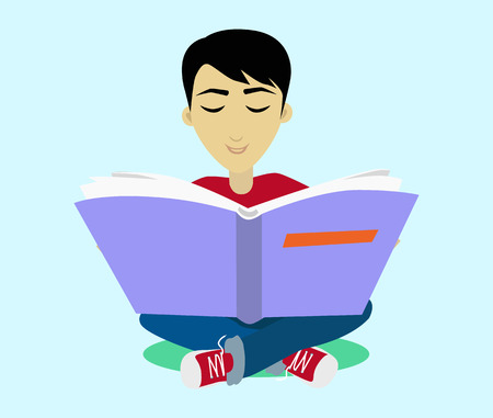 black haired: Young black haired man student happy enjoying reading big thick book.