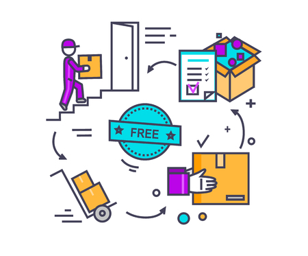 Free shipping concept icon flat design. Delivery order, service transportation, cargo logistic, package box, fast courier, deliver parcel, industry packaging. Thin, line, outline icons