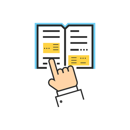 reads: Reading book encyclopedia textbook icon flat. Reading book, man reading book. Book reader sign icon. Person reading book. Read book isolated icon. Hands hold book. Reading book vector illustration Illustration