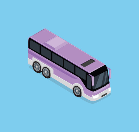 omnibus: Vector isometric bus. Public transportation. Illustration