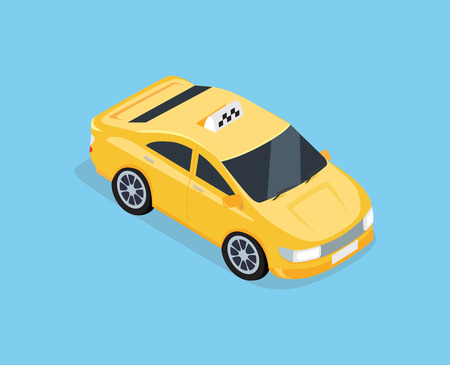 yellow cab: Flat 3d isometric high quality car taxi. Illustration