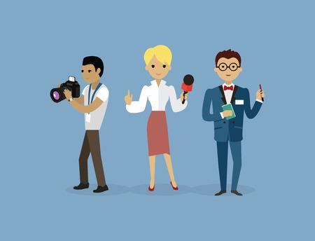 Journalisten team groep mensen vlakke stijl. Verslag en pers, schrijver en interview, media nieuws, journalist, professionele camera, karakter verslaggever, journalistiek illustratie. journalisten team