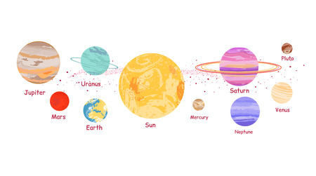 Solar system icon flat design style. Earth planet, space and sun, science astronomy, galaxy and saturn, jupiter and venus, mars and mercury, uranus and neptune illustration. Solar system concept