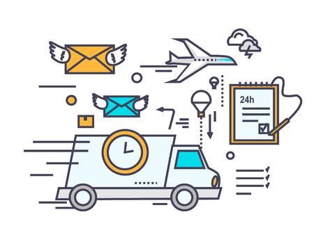 빠른 배달 개념 아이콘 플랫 디자인. 서비스 사업 운송,화물 및 택배, 운송, 유통, 물류 메일을 보내와 시간, 봉투를받을 수 있습니다. 얇은 라인, 개요