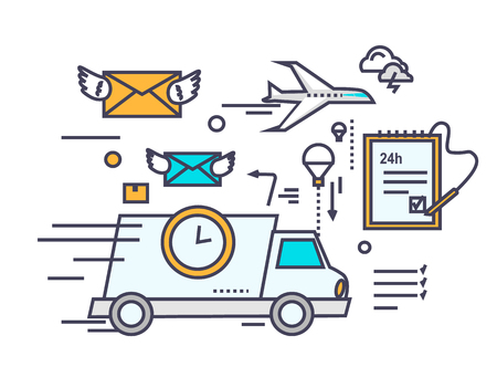 mail truck: Fast delivery concept icon flat design. Service business transportation, cargo and courier, transport and distribution, logistic mail, receive envelope, send and time. Thin, line, outline icons