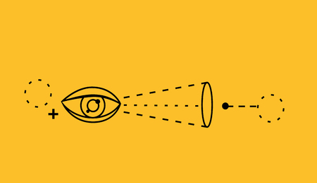 aptitude: Man ability to visualize concept. Capability and talent, competence and potential, capacity and aptitude, skill visual, activity spatial education pastime, self professional. Thin line black on yellow Illustration