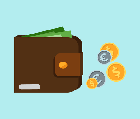 money wallet: Flat wallet with card and cash. Leather wallet with dollars, credit cards. Leather purse with banknotes. Brown wallet. Full wallet. Purse with money. Wallet filled up with money and plastic cards