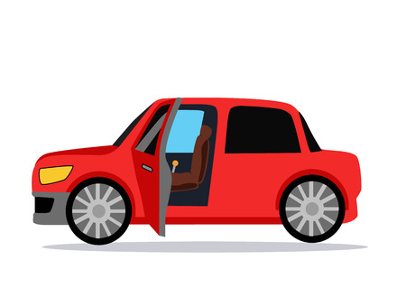 open car door: Car icon. Car icon object. Car logo. Car Icon giraphic. Red car. Auto car flat style. Car with shadow. Car on white background. Concept car. New car. Vector logo car. Buy car. Rent car. Car open door