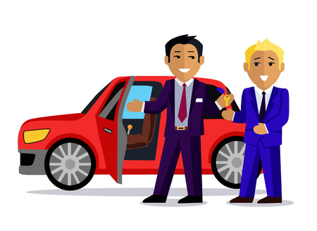 automobile dealership: Illustration of a man buys a new car. Automobile sale, sell  transport, dealer and customer,  salesman and vehicle, purchase and seller, buyer and agent illustration. Buy car concept. Man buy car