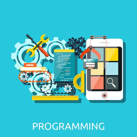 web development: Concept for app development programming with smartphone, tools, programing code. Apps, development, mobile apps programming, software development, mobile app development, app design programming Illustration