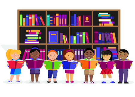 literature: Other children read books in the library. Education child or kid, learning student, reading and study, people studying, literature textbook in flat design. Various nationalities students reading books