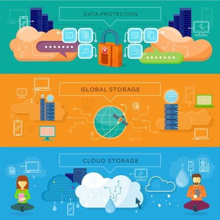 privacidad: Protección de datos, almacenamiento global y almacenamiento en la nube. Seguridad de los datos, la privacidad de datos, la seguridad y el flujo de datos, respaldo de datos, computación en nube, almacenamiento en línea, almacenamiento de datos, Internet web ilustración