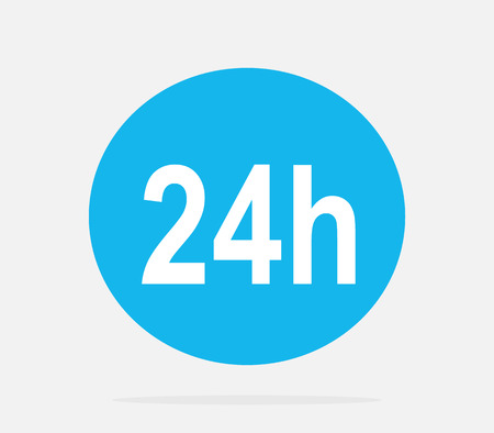 24 hr: 24h icon. Repair fix tool icons. 24h Customer support service signs. Circle concept web button. 24 h vector icon. 24h icon on clean background. Isolated icon 24h. 24H icon, badge, label or sticker
