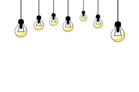 idea icon: Idea concept background. Glowing yellow light bulb as inspiration concept. Light sign ideas. Vector light bulb icon. Bulb light idea. Creative idea in bulb shape. Bulb icons with idea. New idea Illustration