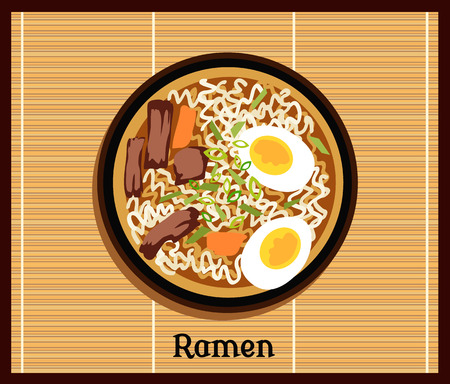 Japanese ramen. Vintage cartoon ramen noodles poster design with noodle and hot soup. Japanese noodle Ramen. Tonkotsu ramen.Pork bone ramen. Japanese food. Japanese ramen icon. Vector Japanese Ramen Иллюстрация