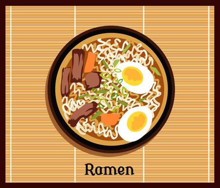 ramen japonais. Vintage nouilles ramen de bande dessinée conception de l'affiche avec des nouilles et la soupe chaude. Ramen nouilles japonaises. Tonkotsu ramen.Pork ramen osseuses. Nourriture japonaise. Japonais icône de ramen. Vector Japanese Ramen