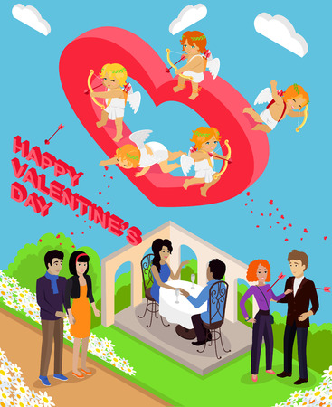 love symbols: Isometric Valentines day. Isometric family couples love hearts 3d. Little cupids 3d icons. Flirting, wedding and parenting, love, first date. Family together concept. Valentine day people couple