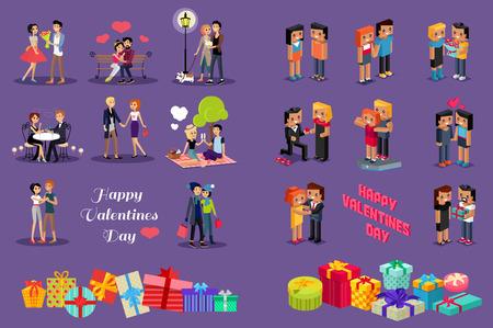 pareja de esposos: Isométricas de San Valentín. familia de los pares isométricas aman corazones 3d. Amorcillos iconos 3d. Flirteo, la boda y la crianza de los hijos, el amor, la primera fecha. Familia junto concepto. Valentine día la gente pareja