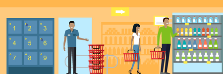 retail shopping: People in supermarket interior design. People shopping, supermarket shopping, marketing people, market shop interior, customer in mall, retail store illustration