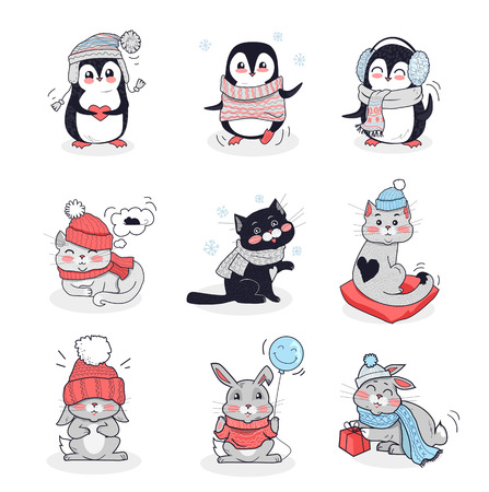 warm color: Set animals in warm clothes design flat. Rabbit and penguin, animals vector, cartoon animals, animal clothing scarf, bunny wear in warm hat, bunny clothing comfort, animal hare and kitten illustration