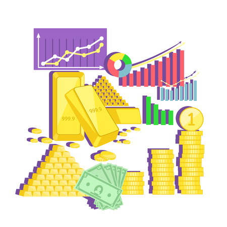 earning: Invest in gold concept icon flat design. Finance investment money, business and coin currency, cash wealth, golden earning, rich and income, profit treasure, financial value account illustration