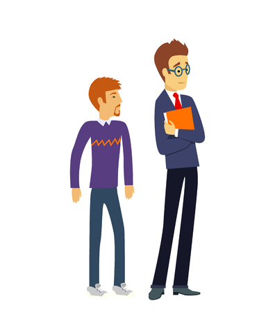 teacher and student: Group of students. College students, group of students, school,  education, graduation, teacher, study. Two male teenage student thinking. University students isolated. Cute and simple flat cartoon Illustration
