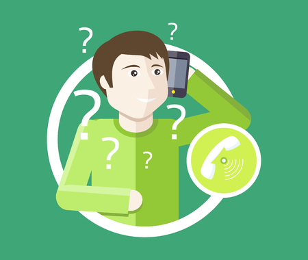 question: Support icon flat design. Technical support. Service technical business consultant chat communication, internet web online technology, management and contact. Man support operator. Computer technician Illustration