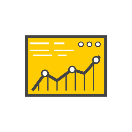 price gain: Analysis concept in flat style. Price movement. Stock exchange rates on monitors. Profit graph for diagram. Electronic stock numbers. Profit gain. Business stock exchange. Live online screen
