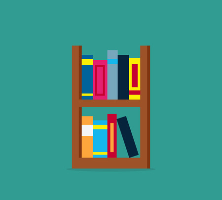 books library: Large bookcase with different books. Bookcase full of books cartoon. books on bookshelves. Bookcase in library. Library scene bookcase in flat design style. Isolated bookcase Vector illustration