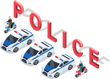 interceptor: Flat 3d isometric high quality police car. Isometric police car top view. Isolated isometric police car. 3D isometric police car. Isometric blue and white police car icon. Vector police car Illustration