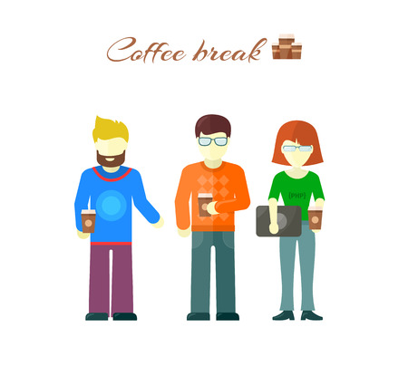 break in: Business team on coffee break. Businesswoman and businessman drinking coffee.  Coffee break in creative team. Office lunch break coffee pause. Coffee break, male and female characters. Tea break time Illustration