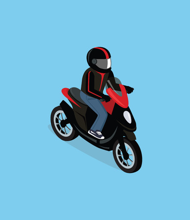 black man: Flat 3d isometric motorcyclist on motorcycle. Motorbiker with motorcycle. Isometric motorcycle. Motorcycle isometric motor bike. Detailed illustration of isometric scooter. Isometric biker top view Illustration