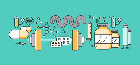 pharmacology: Concept study of human medicine. Medical health, science and care, pharmacy and healthcare, laboratory and pharmaceutical, therapy and dna, capsule and pharmacology, pulse. Set of thin, lines icons
