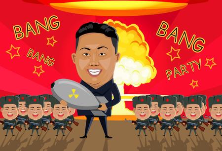 Bomb on North Korea. North Korean soldiers gun in arms. Bang bomb Korea crisis escalation. Nuclear tests North Korea. Radioactive bomb. North Korea soldier in uniform. Communist war. Confrontation war