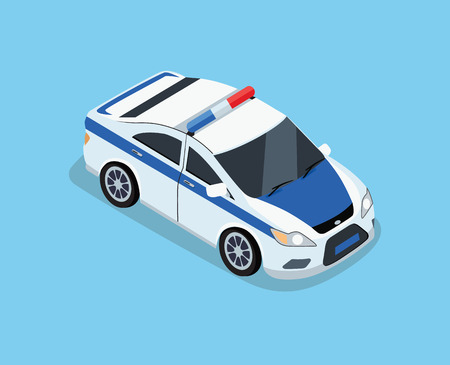 front exterior: Flat 3d isometric high quality police car. Isometric police car top view. Isolated isometric police car. 3D isometric police car. Isometric blue and white police car icon. Vector police car Illustration