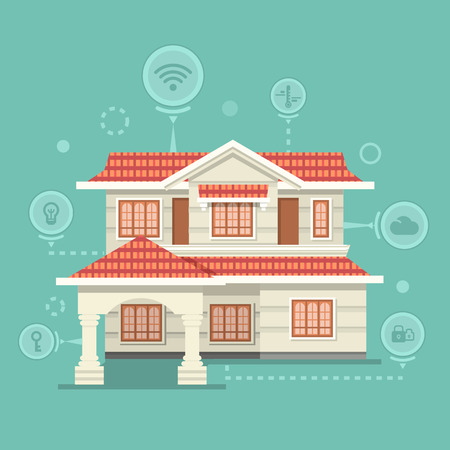 home equipment: Concept of smart home and control device. Technology device, system mobile automation, monitoring energy power, electricity efficiency, equipment temperature, smart house, remote thermostat