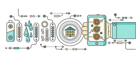 eficiencia energetica: Concepto de dispositivos del hogar y de control inteligente. dispositivo de tecnología, sistema móvil de vigilancia de automatización de la eficiencia eléctrica de alimentación de energía, temperatura del equipo, termostato remoto. ilustración Smart House Vectores