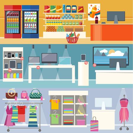 Interiors Läden Kleidung, Technologie und Nahrung. Smartphone und Kleidung, Lebensmittelmarkt, Einzelhandel und Supermarkt, Geschäfts- und Einkaufs, Konsumgeschäft Illustration. Supermarkt Innenraum. Ladengeschäft