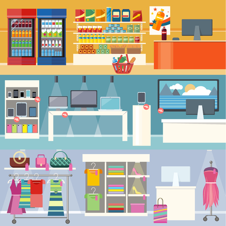 Interiors stores clothes, technology and food. Smartphone and clothing, grocery market, retail and supermarket, business and shopping, consumerism shop illustration. Supermarket interior. Retail store Ilustração
