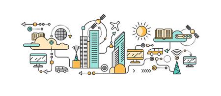 La tecnología inteligente en la ciudad de la infraestructura. Icono y sistema de red, la comunicación de la ciudad la innovación, la conexión y el futuro, la información de control, internet. gestión de desarrollo de sistemas inteligentes de la industria de la ciudad Ilustración de vector