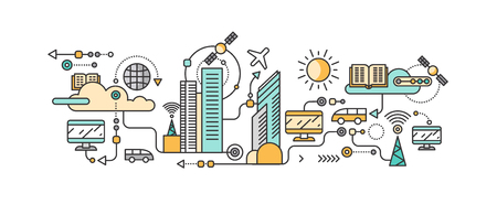 future business: Smart technology in infrastructure city. Icon and network system, communication innovation town, connection and future, control information, internet. Smart industry city system development management Illustration